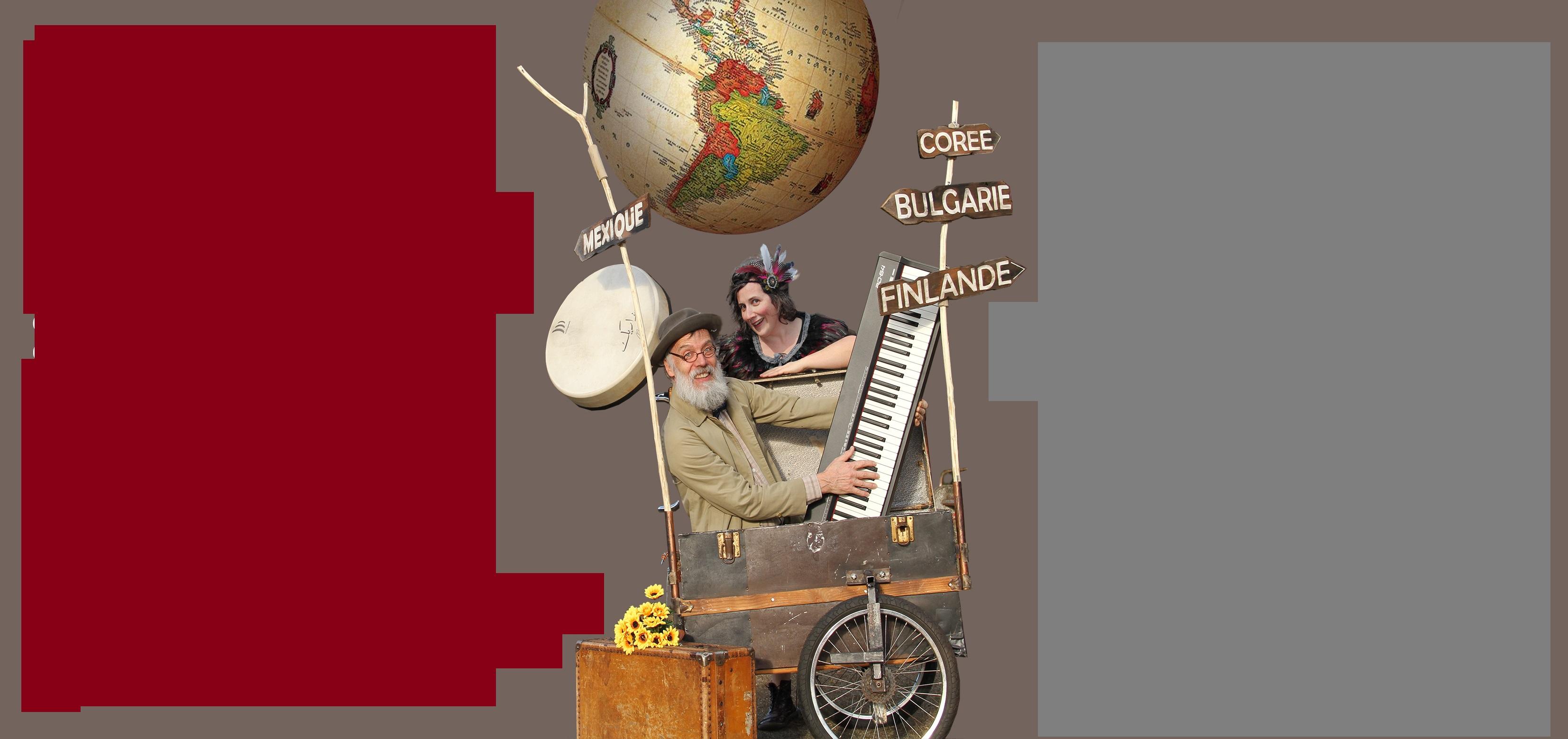 15 décembre au Café Pluche: Concert théatralisé autour de la mondialisation chansonnesque par le Bas -Duo.